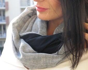 Snood noir|gris chiné, écharpe tubulaire, maille de laine noire et gaze de coton japonais. col tube| tour de cou| snood femme |écharpe laine