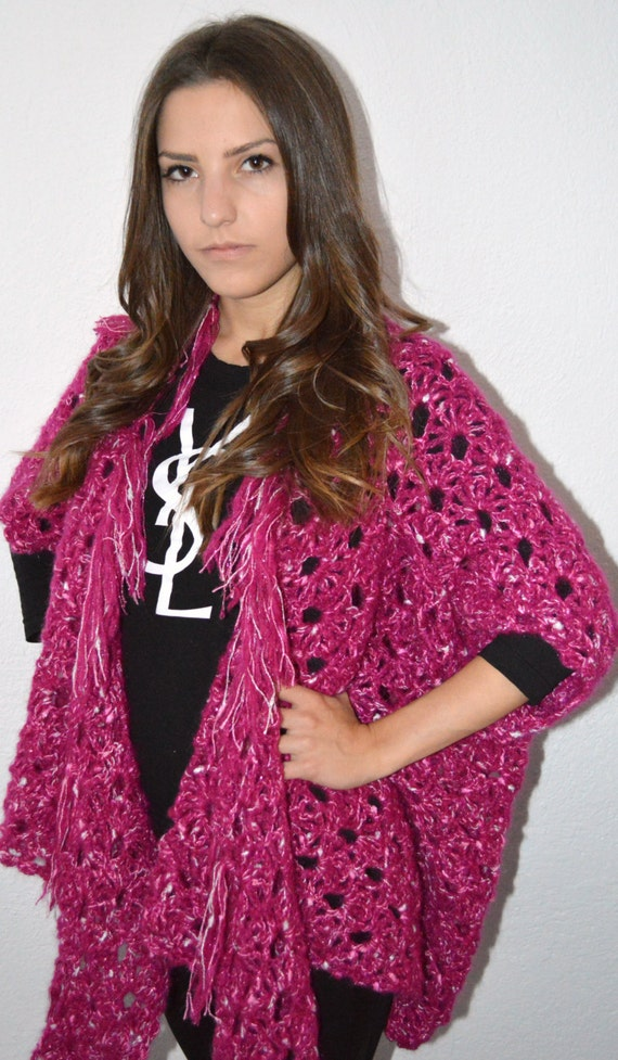 Hand Knitted Cardigan, hand crochet Poncho with Flower Brooch, Fuchsia colour, oversized women cardigan, poncho