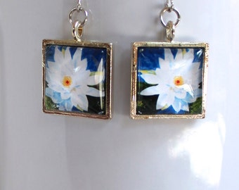 White Waterlily Flower Floral Earrings Silver Finish Pierced Ear Dangle Earrings