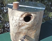 Natural Cottonwood Outdoor Birdhouse with Galvanized Metal Roof and Hinged Body, Knot Hole Entry
