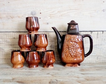 Vintage Ceramic Wine Set, Set of Decanter and 6 Mugs, Bulgarian Traditional Folk Art Pottery Set, Brown Glazed Ceramic Wine Set, 1970s