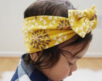 Mustard Petals top knot baby headband