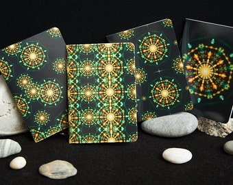 4 Mandala Flower Mini A7 Pocket Notebooks.  Gloss Cover Small holiday Journals, sketchbook, blank notebooks. Notebook sets. Spiritual art.