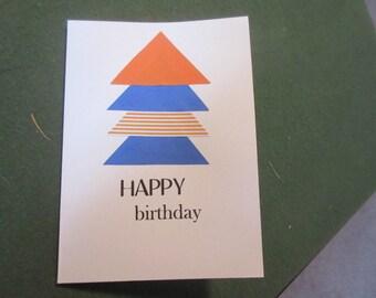 Masculine Birthday Card // blue and orange triangles