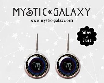 Virgo Earrings, Astrology Earrings, Zodiac Earrings, Glass Dome Jewelry, Leverbacks, Virgo Leverback Dangle