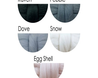 Merino Wool Tops - black, greys, white, egg shell - 36 colours for felting and spinning
