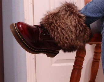 Handmade recycled racoon fur boot covers, real fur, boot toppers, leg warmers, new, black, brown, white, gift idea