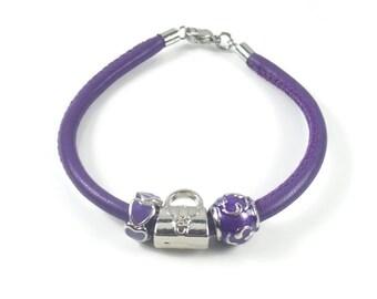Purple Leather Charm Bracelet, Genuine Leather, European Bracelet, Women's Bracelet, Womens Leather Jewlery, Womens Leather Charm Bracelet