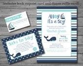 Nautical Baby Shower Invitation, nautical theme, whale, baby boy, printable, DIY printing, book request card, diaper raffle