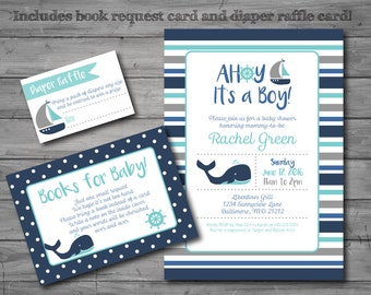 Nautical Baby Shower Invitation, nautical theme, whale, baby boy, printable, DIY printing, book request card, diaper raffle