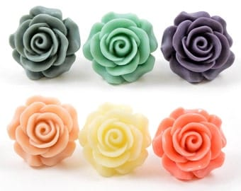 7/8 3/4 25mm 1 PAIR Rose Plugs Gauges Wedding Bridal Jewelry Bridesmaids Formal Wear Special Occasion 22mm 19mm plugs