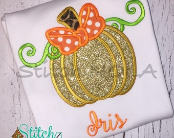 Gold Glitter Pumpkin Shirt, Romper or Bodysuit