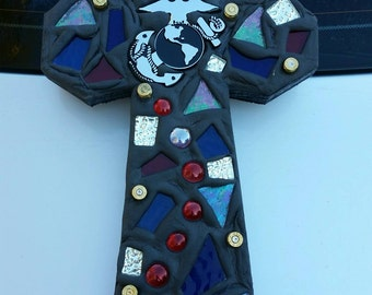 Mosaic Black USMC Cross - USMC Wall Cross-Marine Mom - Marine Home Decor - Mosaic Wall Cross - Unique Cross