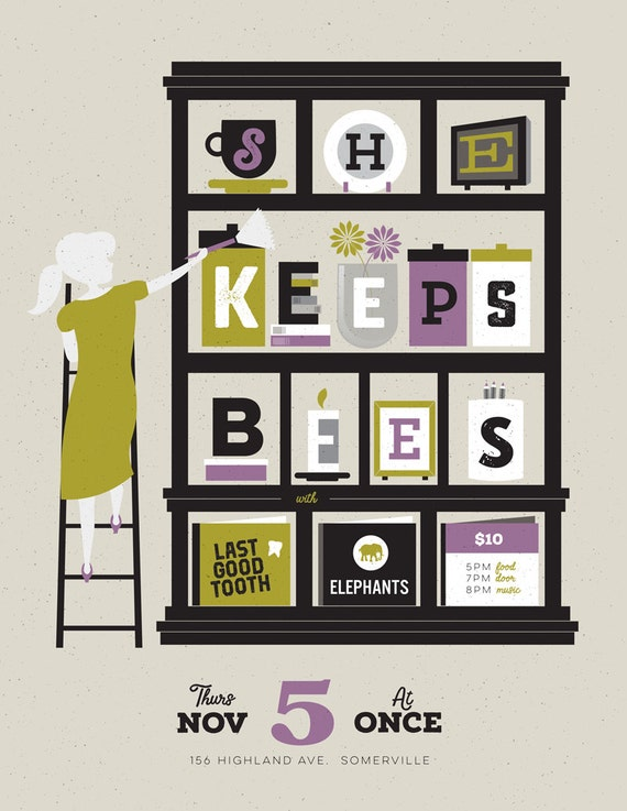 She Keeps Bees, Last Good Tooth gig poster  // ONCE Lounge, Somerville