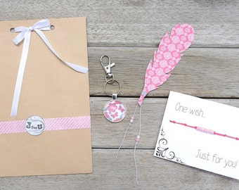 Gift set for women, pink colored gift pack, jewelry gift set, original presents
