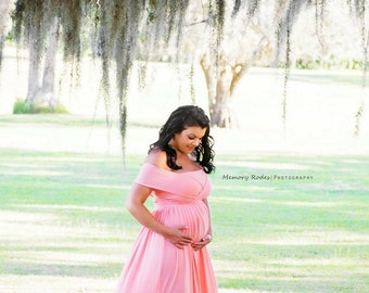 embrace convertible maternity baby shower bridesmaids photo prop dress grown light pink