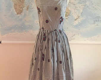 1950s Black and White Stripe Sun Dress