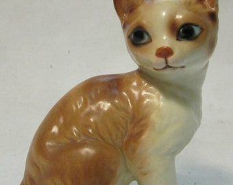 Cat Figurine, Orange and White, Lefton China, Japan, 1970's