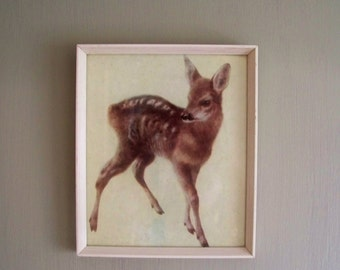 Framed Little Fawn hanging picture