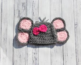 Newborn Elephant Hat, Elephant Hat, Baby Elephant Hat, Girl Elephant Hat, Baby Girl Hat, Crochet Baby Hat, Crochet Elephant Hat