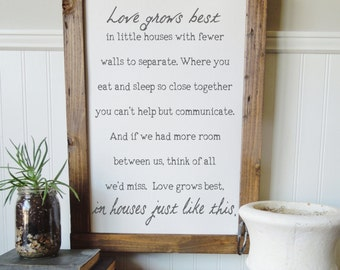 Love grows best in small houses/home/canvas art print/wall art/canvas print/wall decor