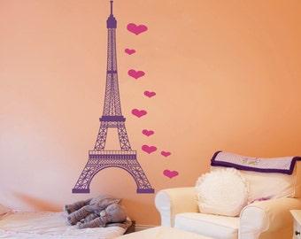 Eiffel tower decal, hearts decal, Eiffel tower wall decal, Paris wall decal, French decal, Paris decal, Viny decal sticker