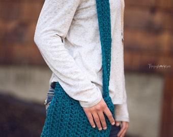 Crochet Summer Tote Bag-Knitted Bag-Crocheted Bag- Summer Bag- Bohemian Vintage Rustic - Boho Bag- Blue tote- fruit bag- Farmers Market bag