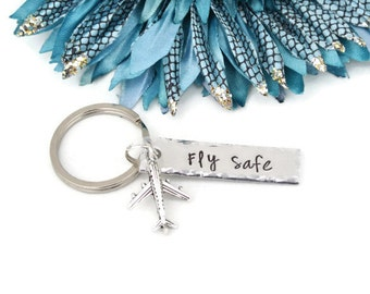 Fly Safe Hand Stamped Keychain | Airplane Keychain | Flight Attendant Gifts | Aluminum Keychain | Gifts For Pilots | Travel Gifts