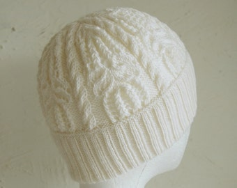 "Knitting pattern ""Water Lily"" hat with lace and cable"