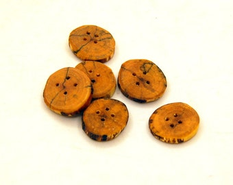 Set of 6 wooden buttons, Spalted birch wood, handmade buttons,Buttons of spalted wood,1 inch buttons,Branch buttons,Craft accessories  #4