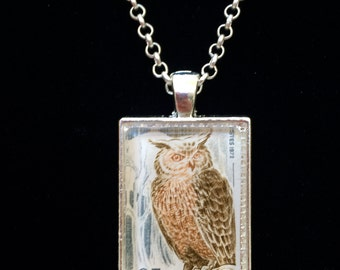 Owl Postage Stamp Necklace