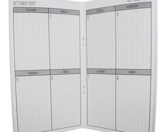 2017-2018 Weekly Grid Vertical Planner {Standard Size} Traveler's Notebook Insert Booklet