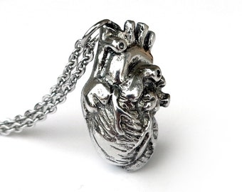 Anatomical Heart Necklace, Anatomical Heart Pendant, Anatomical Jewelry, Handmade Pewter, Anatomically Correct Human 3D Heart Charm