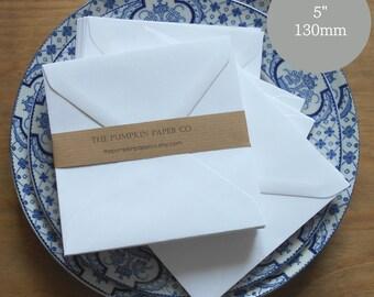 "50 Square Envelopes 5"" Envelopes White Envelopes/wedding invitation envelopes/birthday cards diy card craft. True size 5.1/8"" 130x130m"