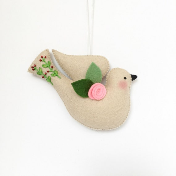 Easter DOVE 100% wool felt ornament spring decoration bird