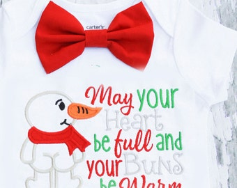 May your heart be full baby boy onesie bodysuit, Baby Boy Christmas Onesie, Boy Christmas outfit with & bow tie Snowman