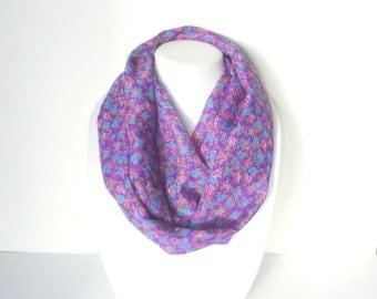 Floral Scarf, Spring Scarf, Lightweight, Mother's Day Gift, Purple Infinity Scarf, Women's Circle Scarf