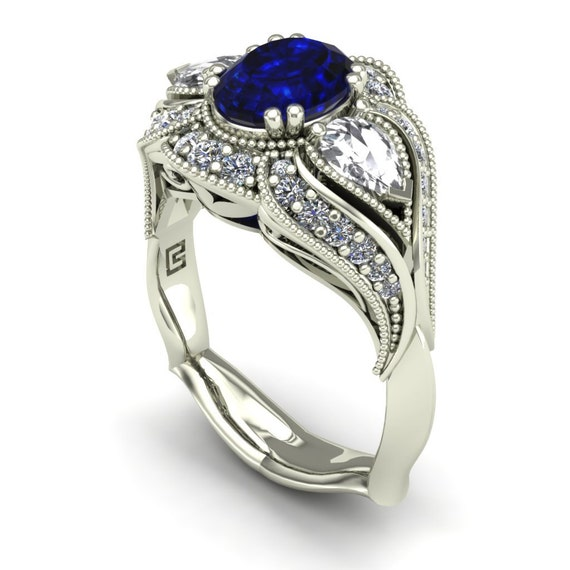 Blue Sapphire Engagement Ring White Sapphire and Diamonds Oval with Pear