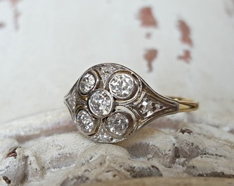 Vintage Antique Edwardian Diamond Dome Engagement Ring or Cluster Ring in 14k Gold