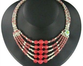 "Amazonite, Rose Quartz & Cherry Quartz Choker Necklace Set ""Cherries Jubilee"""