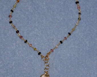 """Vermeil Gold over Sterling Sea Shell Charm Watermelon Tourmaline Anklet 9"""" or 11"""""""