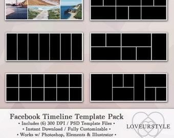 Facebook Timeline Template Pack, Timeline Cover, Facebook Banner, Instant Download, Marketing Tools, Digital Collage, Banner Collage