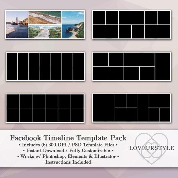 facebook timeline template pack  timeline cover  facebook banner  instant download  marketing