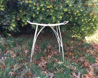 Mid Century Modern white metal stool, small chair, 50's furniture, vanity, bench, modern, minimalist, pet bed, planter stand, shabby chic
