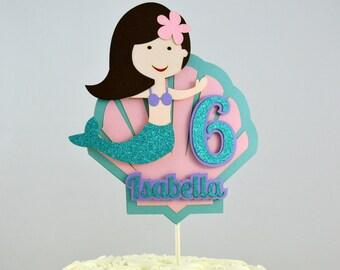 Mermaid Cake Topper - Mermaid Theme Birthday Party - Girl Birthday Decoration - Smash Cake Topper - Glitter Cake Topper - Under the Sea