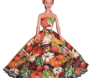Fashion Doll Clothes-Glittery Autumn Bounty Print Strapless Dress