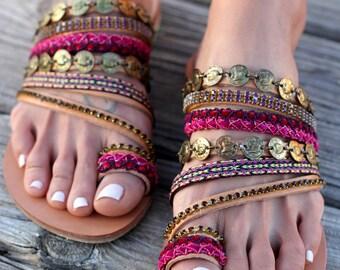"Slip on artisanal sandals, Handmade Greek leather Sandals, Swarovski crystals, Boho Sandals, Ethnic leather sandals ""Aysel"""