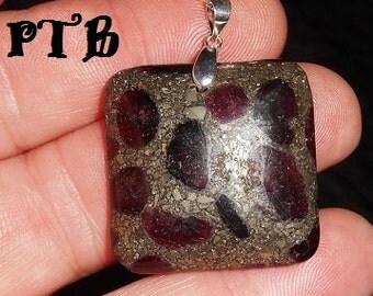 """Purify & Balance ~ Authentic Natural Garnet in Pyrite 1 1/2"""" Pendant 925 Sterling Silver"""