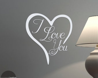 I Love You Heart Vinyl Wall Decal Sticker
