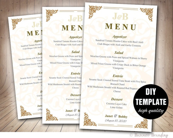 Gold Wedding Menu Card Template DIY Wedding Menu Template